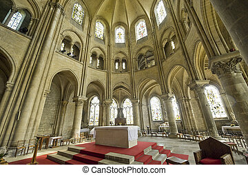 Saint-Leu (Oise, Picardie, France) - Interior of the gothic church, altar and apse