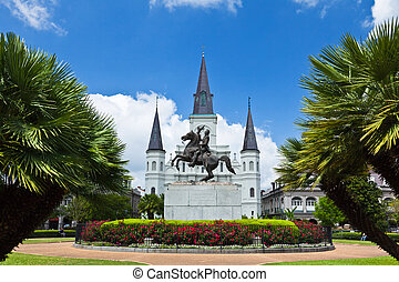 Saint Louis Cathedral and Jackson Square in the French...