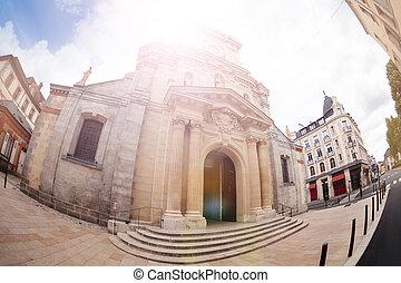 Saint-Louis de Fontainebleau eglise church front entrance view, France
