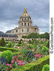 Garden and Chapel of Saint-Louis-des-Invalides in Paris, France.