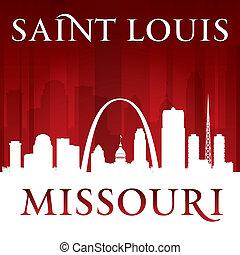 Saint Louis Missouri city silhouette red background