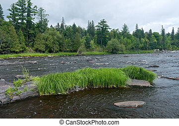Saint Louis River and Rock Outcropping