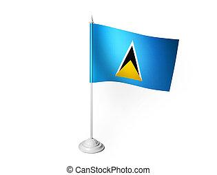 Saint Lucia desk flag waving 3D rendering isolated white ...