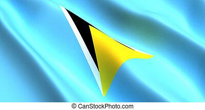 Saint Lucia flag 3d - the flag of the Saint Lucia flutters ...