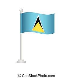 Saint Lucia flag. National flag of Saint Lucia on pole ...