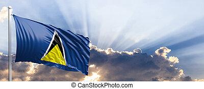 Saint Lucia flag on blue sky. 3d illustration - Saint Lucia...