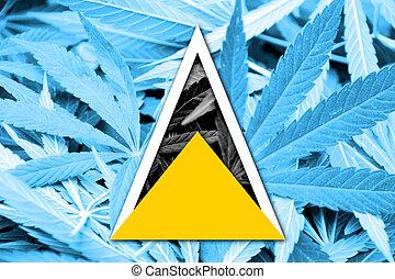 Saint Lucia Flag on cannabis background. Drug policy. ...