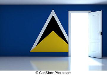 Saint Lucia flag on empty room