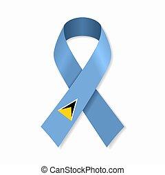 Saint Lucia flag stripe ribbon on white background. Vector ...