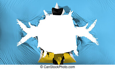 Saint Lucia flag with a big hole, white background, 3d ...