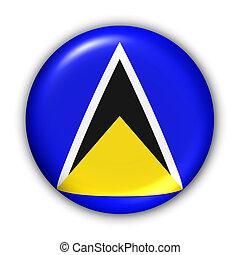 Saint Lucia Flag - World Flag Button Series - Caribbean -...