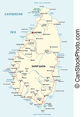 saint lucia road vector map