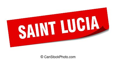 Saint Lucia sticker. Saint Lucia red square peeler sign