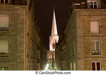 Saint-Malo at night-- is a walled port city in Brittany in...