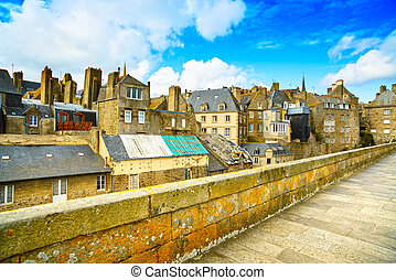 Saint Malo city walls and houses. Brittany, France. - Saint ...