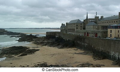 SAINT MALO, FRANCE - March 25, 2016: view of beach of...
