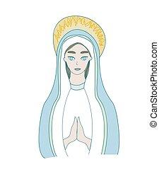 saint, marie, isolé, illustration, icône