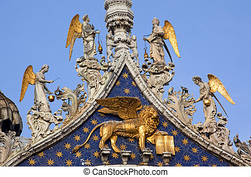 Saint Marks Basilica, Cathedral, Church Winged Golden Lion Symbol of Venice Angels Statues Venice Italy