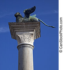 Saint Marks Winged Lion Column Venice Italy