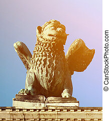Saint Marks Winged Lion Venetian Symbol Column 12th Century Originally from Constantinople Venice Italy