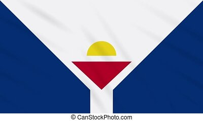 Saint Martin flag waving cloth background, loop - Saint...