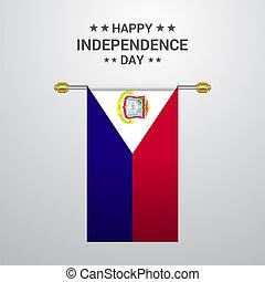 Saint-Martin Independence day hanging flag background