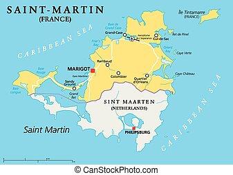 saint-martin, land, politiek, kaart