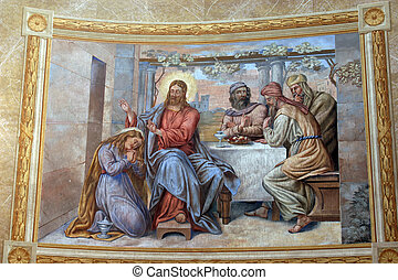 Saint Mary Magdalene wipes the feet of Jesus