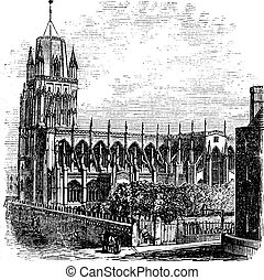 Saint Mary Redcliffe - Anglican church in Bristol, England (United Kingdom). Vintage Engraving from 1890s.