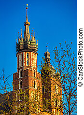 Saint Mary's Basilica on the main market square in Krakow town,