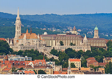 Saint Matthias church and Fisherman Bastion in Budapest,...