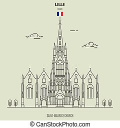 saint-maurice, france., εκκλησία , lille, διακριτικό σημείο , εικόνα