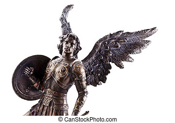Saint Michael statue isolated on white.