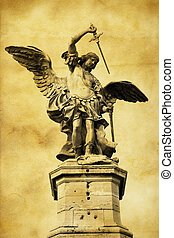Saint Michael statue on the top of Castle Sant Angelo in...