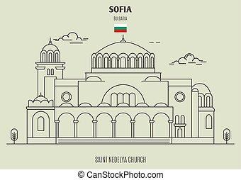 Saint Nedelya church in Sofia, Bulgaria. Landmark icon in...