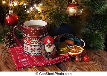Saint Nicholas and cup of tea - Cup of tea with chocolate...