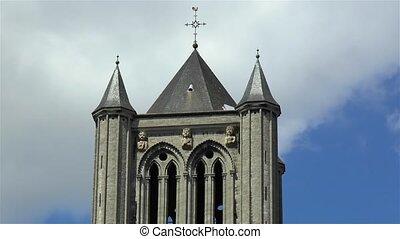 Close up view of Saint Nicholas' Church, Sint-Niklaaskerk in Ghent, Gent, Belgium.
