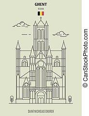 Saint Nicholas Church in Ghent, Belgium. Landmark icon in linear style