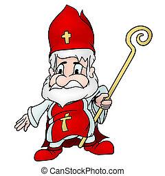 Saint Nicholas - colored cartoon illustration, vector