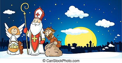 Saint Nicholas, devil and angel in town