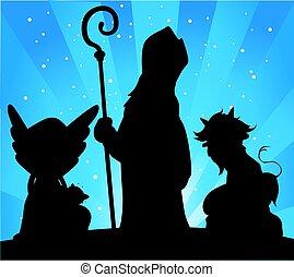 Saint Nicholas, Devil and Angel Silhouette Vector Illustration