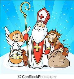 Saint Nicholas, devil and angel - vector illustration cartoon