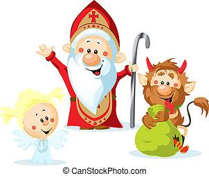 Saint Nicholas, devil and angel - vector illustration...