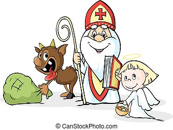 Saint Nicholas, devil and angel - v