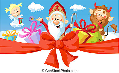 Saint Nicholas, devil and angel - vector illustration isolated on white background. Horizontal design