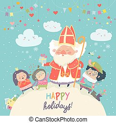 Saint Nicholas with Piet and happy kids. Vector illustartion