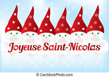 Saint Nickolas (6th December) with French text and 6 cute nicks - background available as vector-eps and jpg-file