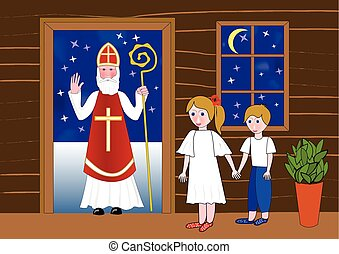 Saint Nicolas in the door of wooden house. Two cute children waiting in room. Little girl holds a little boy by the hand.