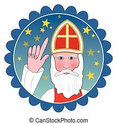Saint Nicolas portrait in circle shape.