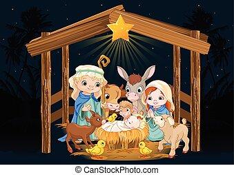saint, noël, famille, nuit